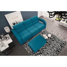 Niebieska, rozkładana sofa z pojemnikiem na pościel oraz z pufą Aliss
