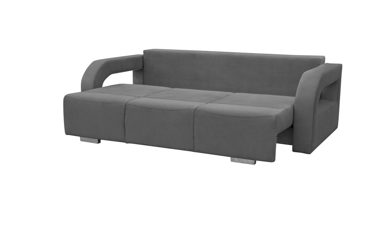Czerwona, rozkładana sofa z pojemnikiem na pościel oraz z pufą Aliss