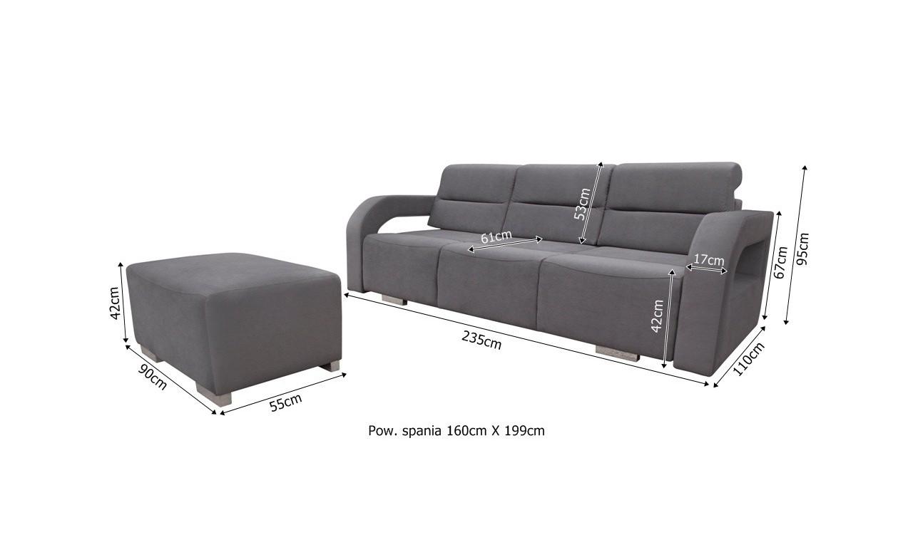Czarna, rozkładana sofa z pojemnikiem na pościel oraz z pufą Aliss