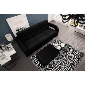 Czarna, rozkładana sofa z pojemnikiem na pościel oraz z pufą KS23c2316
