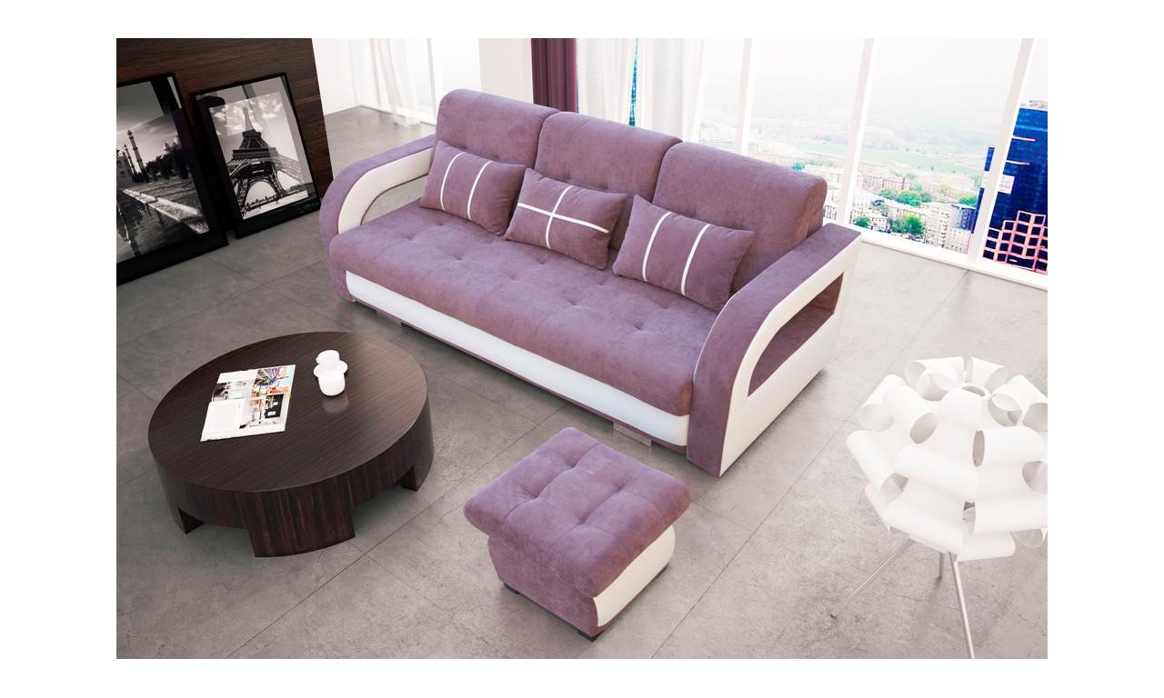 Fioletowa, rozkładana sofa z pojemnikiem na pościel oraz z pufą Nina