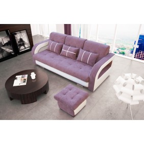 Fioletowa, rozkładana sofa z pojemnikiem na pościel oraz z pufą KS24d76s17