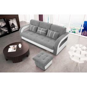 Jasnoszara, rozkładana sofa z pojemnikiem na pościel oraz z pufą Nina