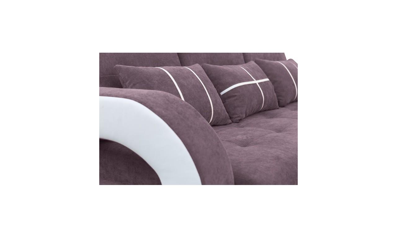 Brązowa, rozkładana sofa z pojemnikiem na pościel oraz z pufą Nina
