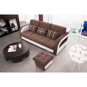 Brązowa, rozkładana sofa z pojemnikiem na pościel oraz z pufą KS24d25s17