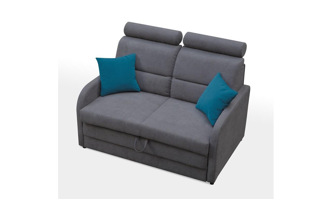 Szara, rozkładana sofa z pojemnikiem na pościel Wibaro