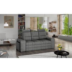 Szara, rozkładana sofa z pojemnikiem na pościel i dwiema pufami KS29i94