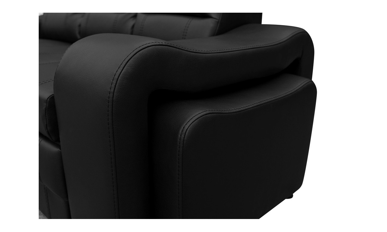 Szara, rozkładana sofa z pojemnikiem na pościel i dwiema pufami Wenus