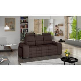 Brązowa, rozkładana sofa z pojemnikiem na pościel i dwiema pufami KS29i27