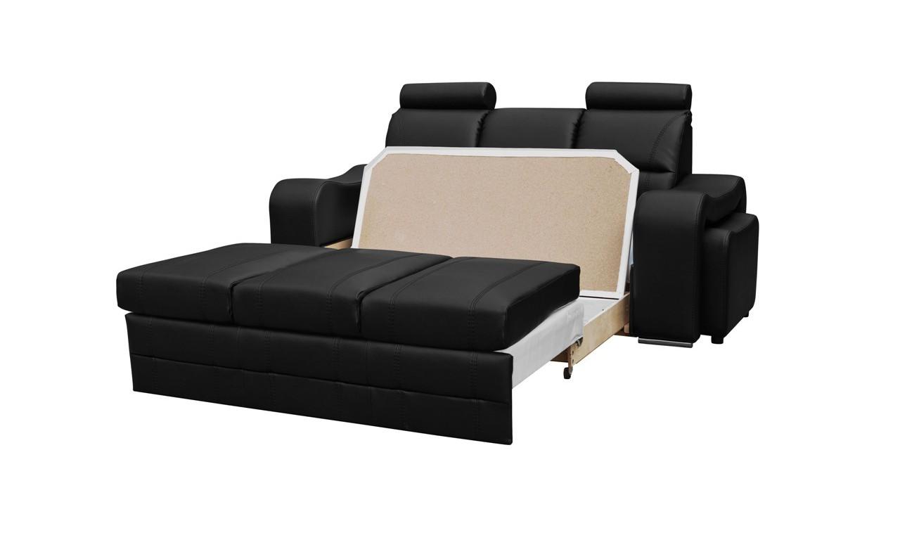 Brązowa, rozkładana sofa z pojemnikiem na pościel i dwiema pufami Wenus