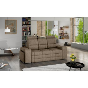 Beżowa, rozkładana sofa z pojemnikiem na pościel i dwiema pufami KS29i23