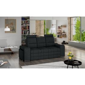 Czarna, rozkładana sofa z pojemnikiem na pościel i dwiema pufami KS29i100