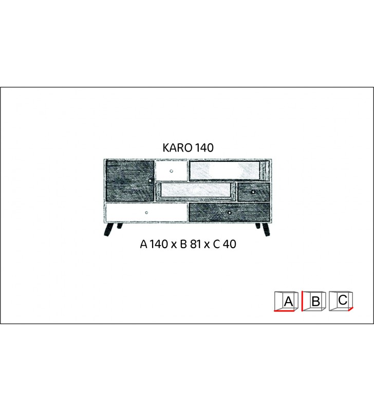 Szeroka komoda w stylu retro Karo 140