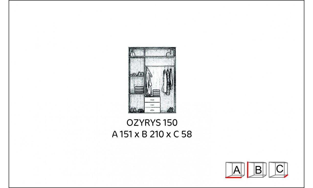 Brązowa szafa przesuwna z lustrem Ozyrys 150