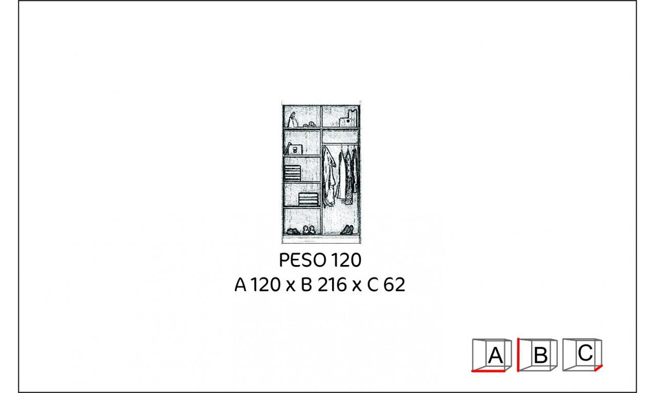 Brązowa szafa z lustrem w stylu klasycznym Peso 120