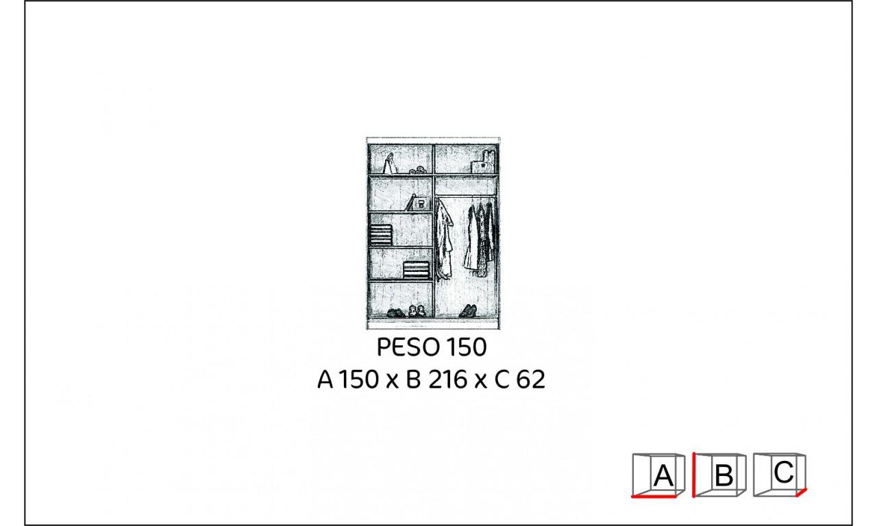 Brązowa szafa z lustrem w stylu klasycznym Peso 150