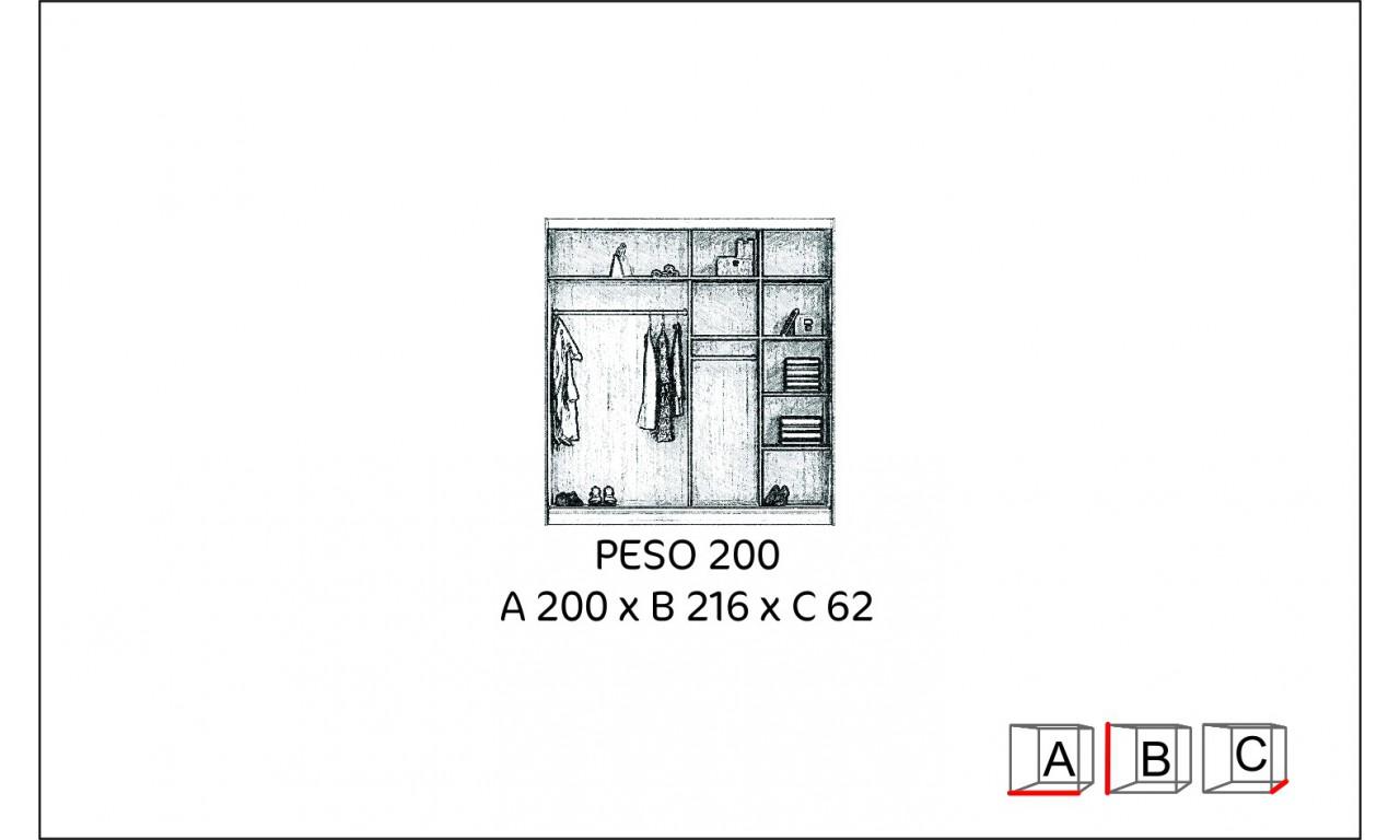 Brązowa, szeroka szafa (200 cm) z lustrem w stylu klasycznym Peso 200