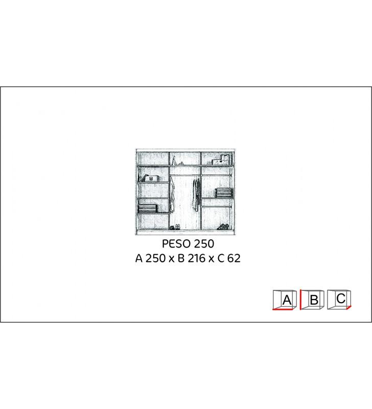 Brązowa, bardzo szeroka szafa (250 cm) z lustrem w stylu klasycznym Peso 250