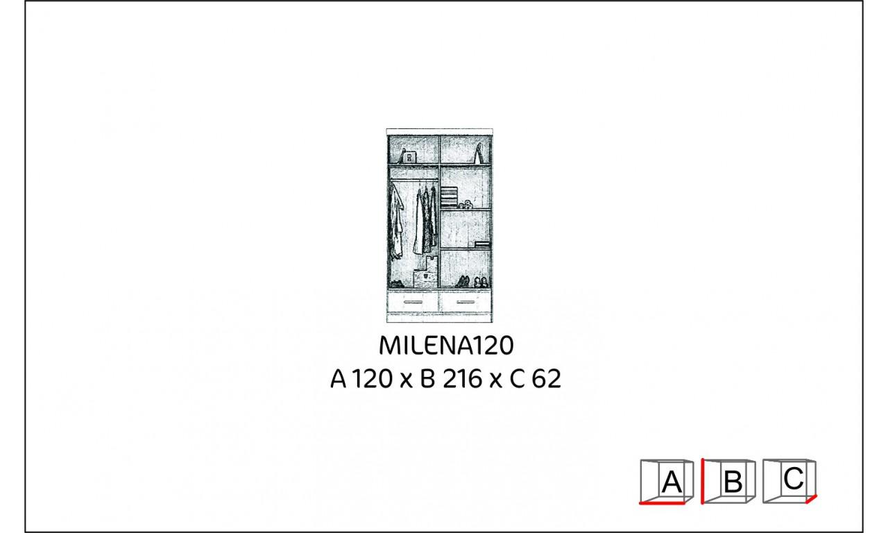 Szafa przesuwna z lustrem w kilku propozycjach kolorystycznych Milena 120