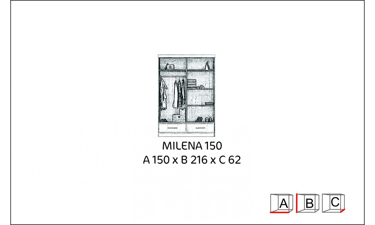 Szafa przesuwna z lustrem w kilku propozycjach kolorystycznych Milena 150