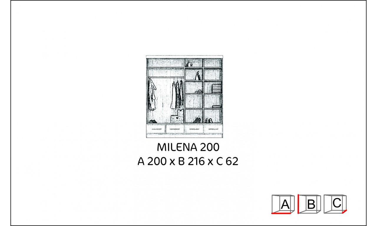 Szeroka szafa (200 cm) przesuwna z lustrem w kilku propozycjach kolorystycznych Milena 200