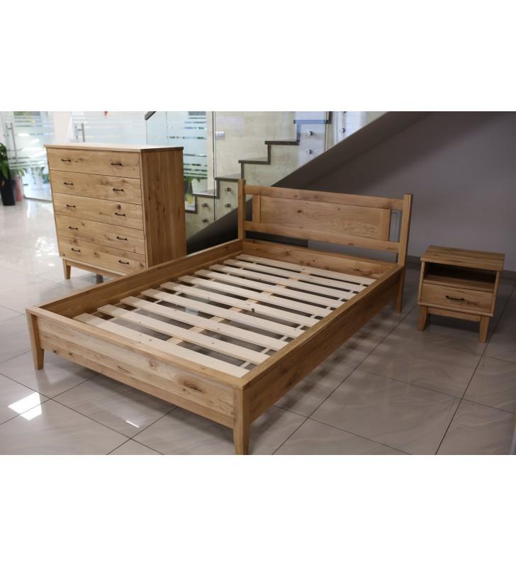 Łóżko (140-180x200 cm) w stylu rustykalnym wykonany z litego drewna MbtkLk1