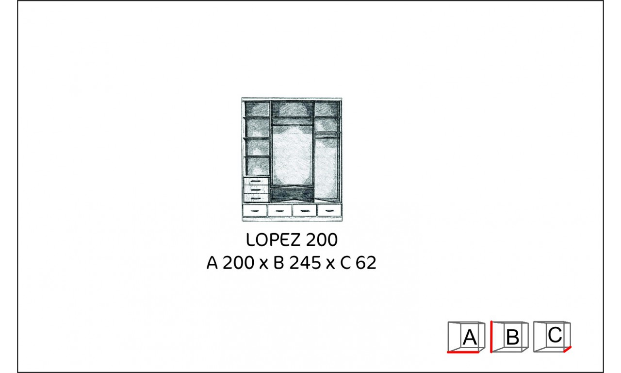 Duża szafa przesuwna z lustrem i podświetleniem LED Lopez 200