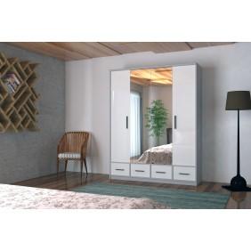 Szeroka szafa (200 cm) z lustrem i podświetleniem LED Aron 200