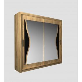 Szeroka szafa przesuwna (203 cm) z lustrem i ozdobnym elementem z czarnego szkła ASz9