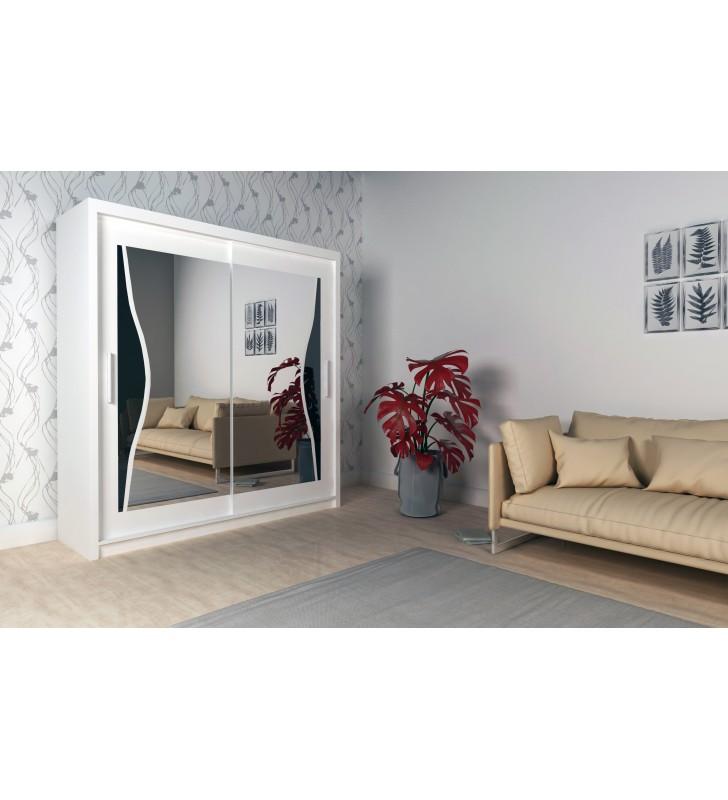 Szeroka szafa przesuwna (203 cm) z lustrem i ozdobnym elementem z czarnego szkła Batumi 200