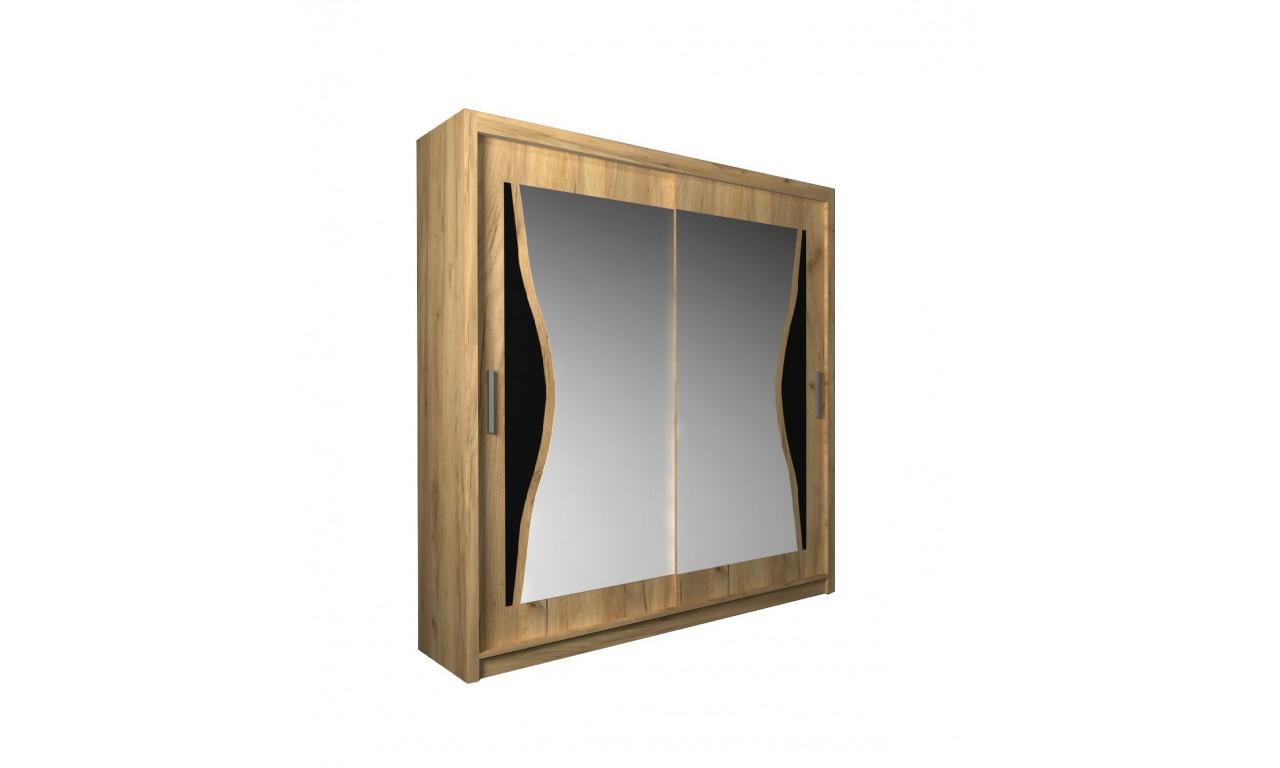 Szafa przesuwna z lustrem i ozdobnym elementem z czarnego szkła Batumi 180