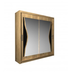 Szafa przesuwna z lustrem i ozdobnym elementem z czarnego szkła ASz8