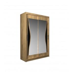 Szafa przesuwna z lustrem i ozdobnym elementem z czarnego szkła ASz7