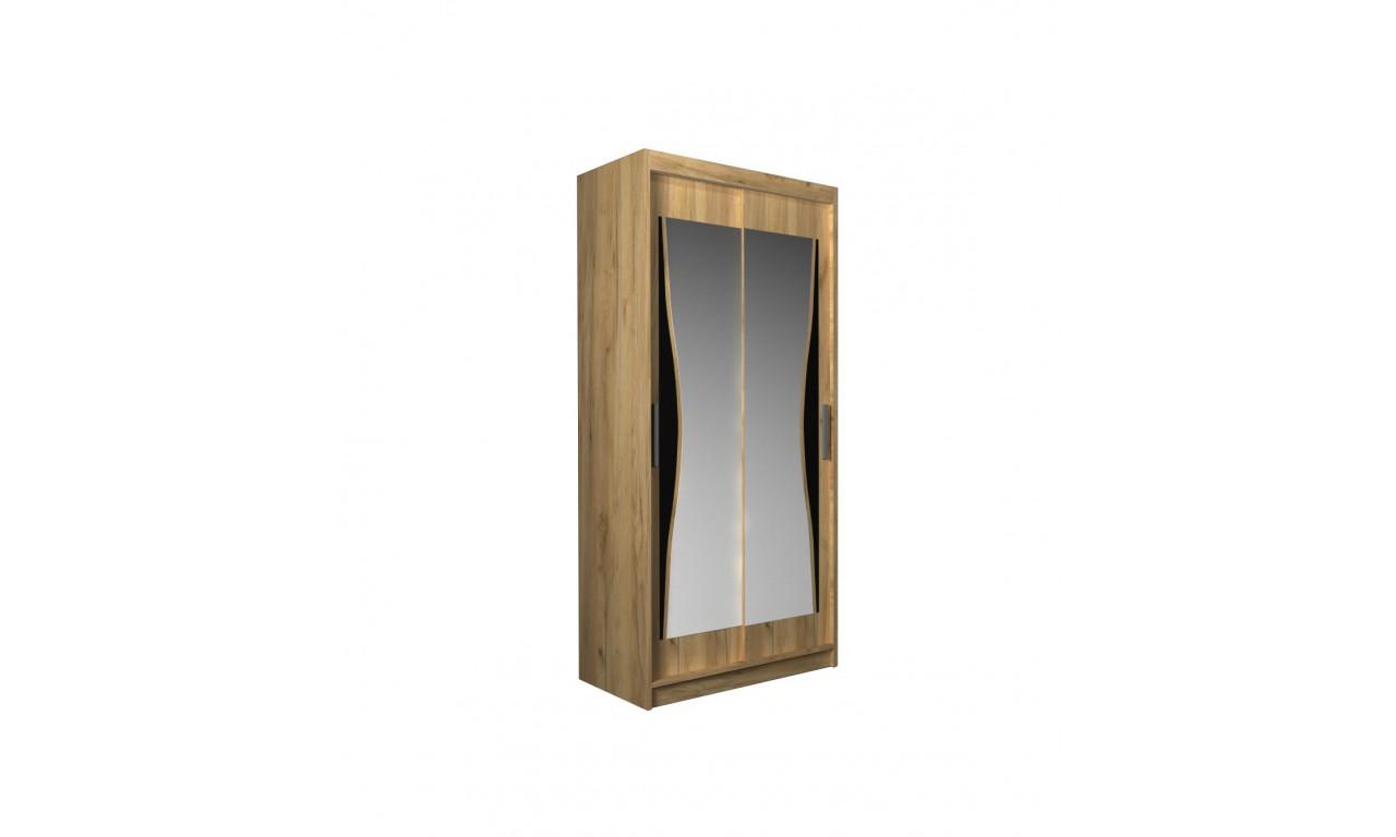 Szafa przesuwna z lustrem i ozdobnym elementem z czarnego szkła Batumi 120