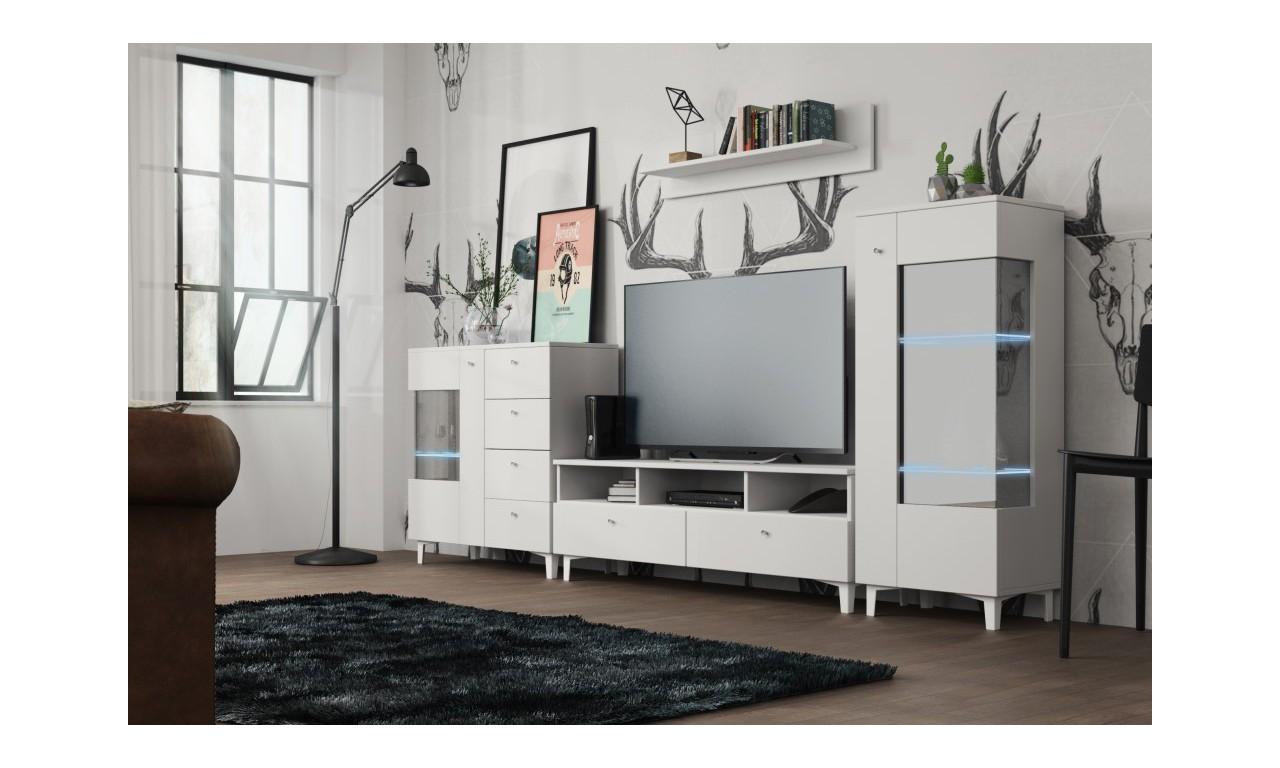 Biała meblościanka w stylu nowoczesnym do salonu Oskar