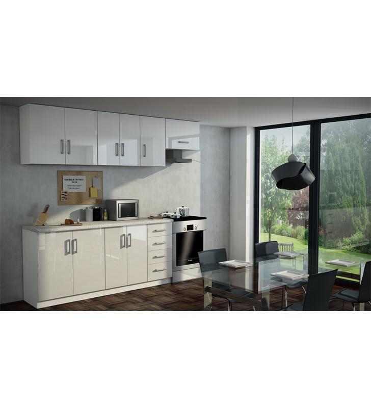 Zestaw białych lub biało-czarnych mebli kuchennych Marta