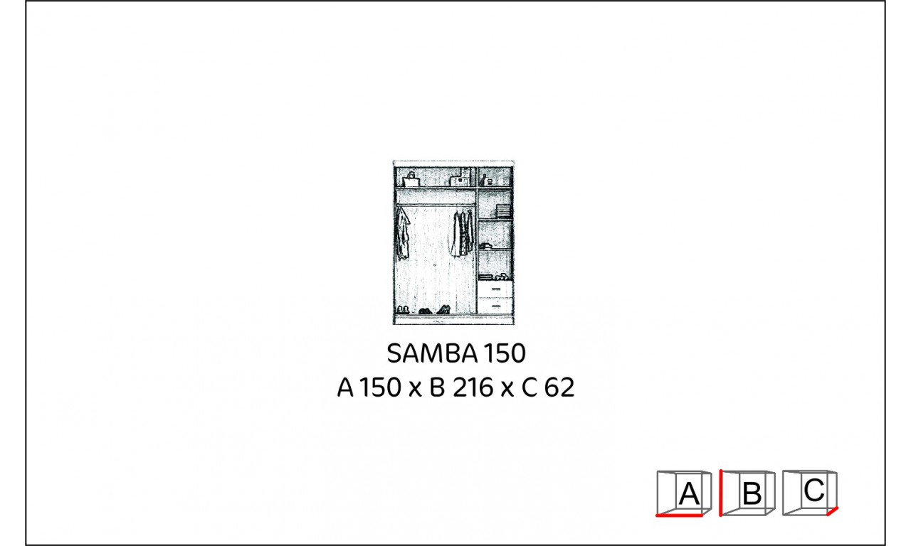 Szafa przesuwna z lustrem Samba 150