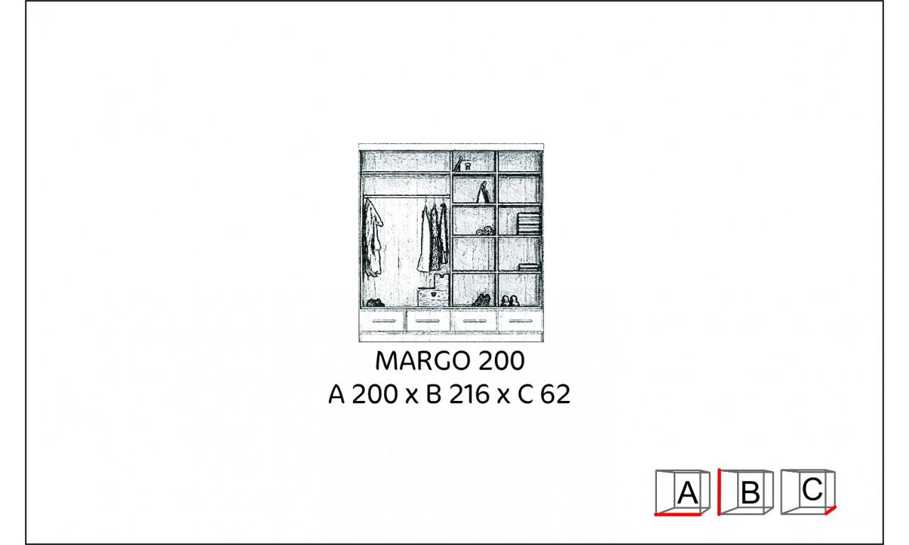 Szeroka szafa z lustrem w kilku odsłonach kolorystycznych Margo 200