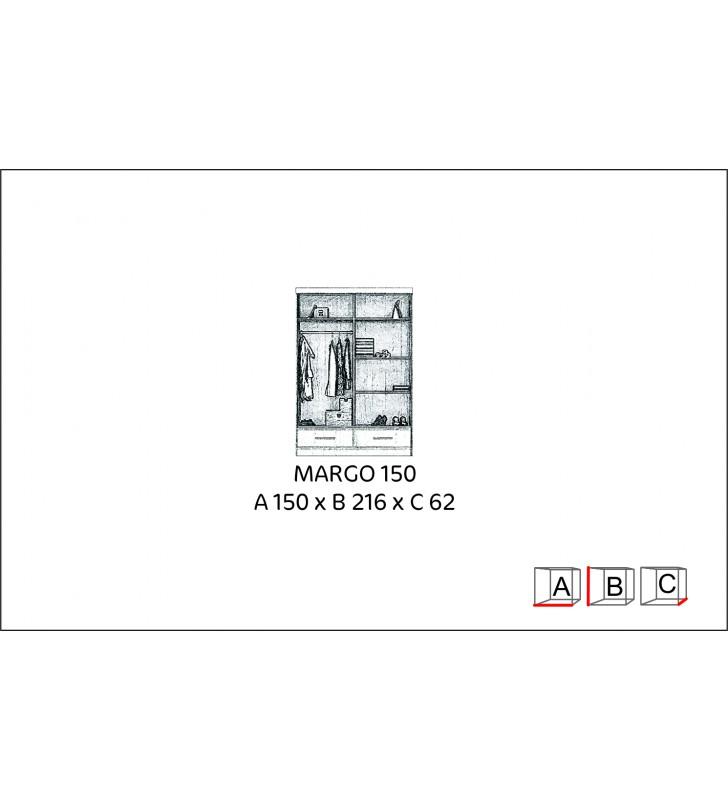 Szafa przesuwna z lustrem w kilku odsłonach kolorystycznych Margo 150