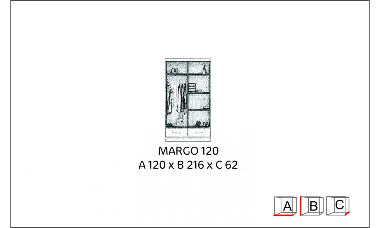 Szafa przesuwna z lustrem w kilku propozycjach kolorystycznych Margo 120