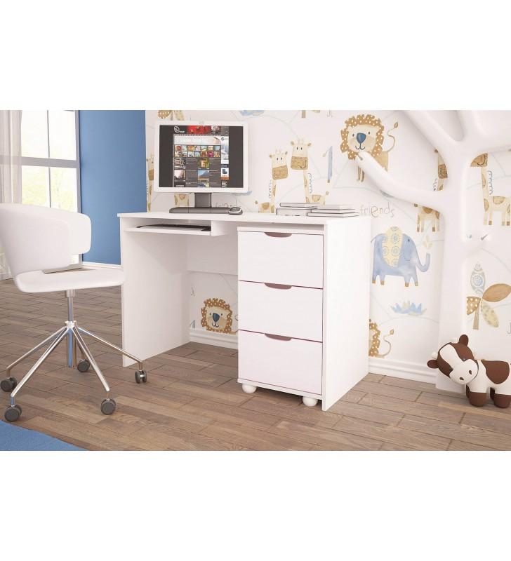 Białe biurko do pokoju dziecięcego KMB1m