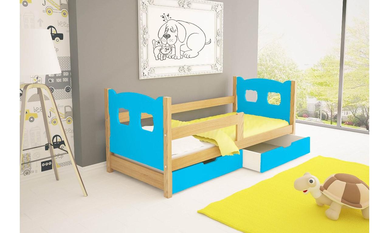 Łóżko pojedyncze, niebieskie z szufladami KMLk10nA