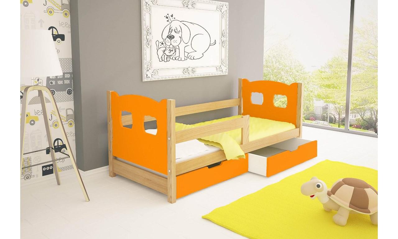 Łóżko pojedyncze, pomarańczowe z szufladami KMLk10pA
