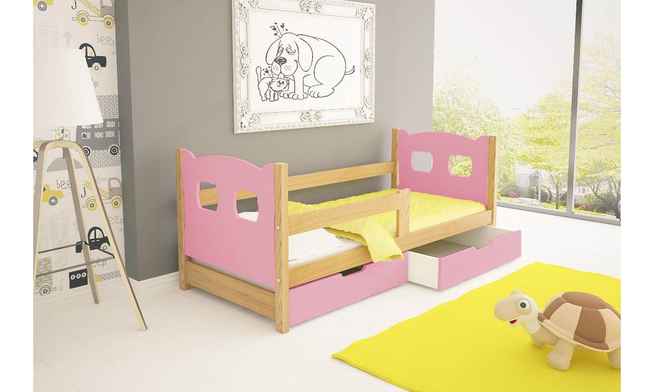 Łóżko pojedyncze, różowe z szufladami KMLk10rA