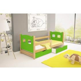 Łóżko pojedyncze, zielone z szufladami KMLk10zA