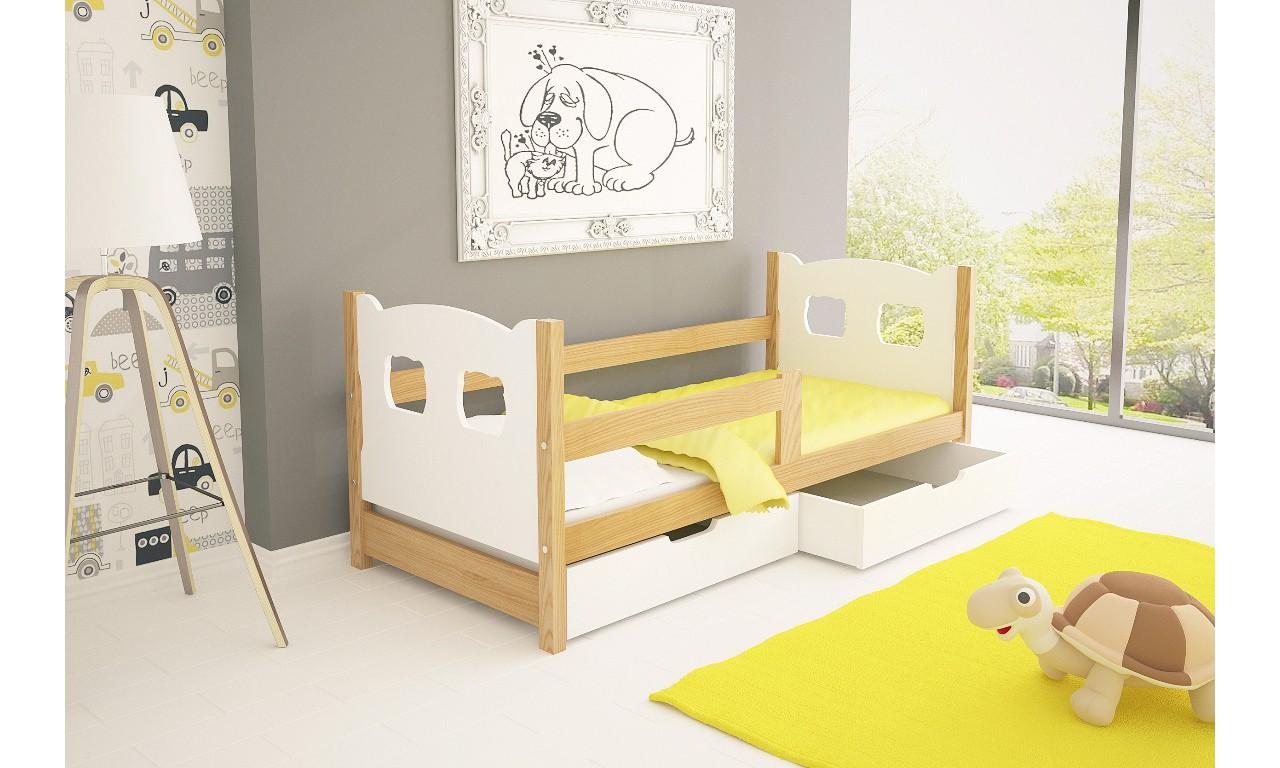 Łóżko pojedyncze, białe z szufladami KMLk10bA