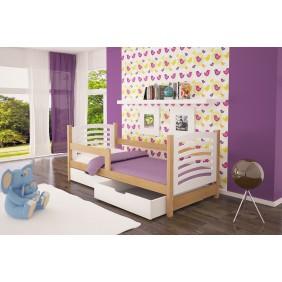 Łóżko pojedyncze, białe z szufladami KMLk10bB
