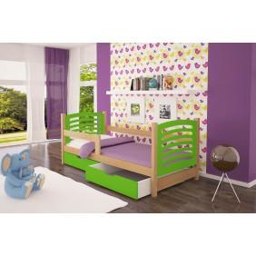 Łóżko pojedyncze, zielone z szufladami KMLk10zB