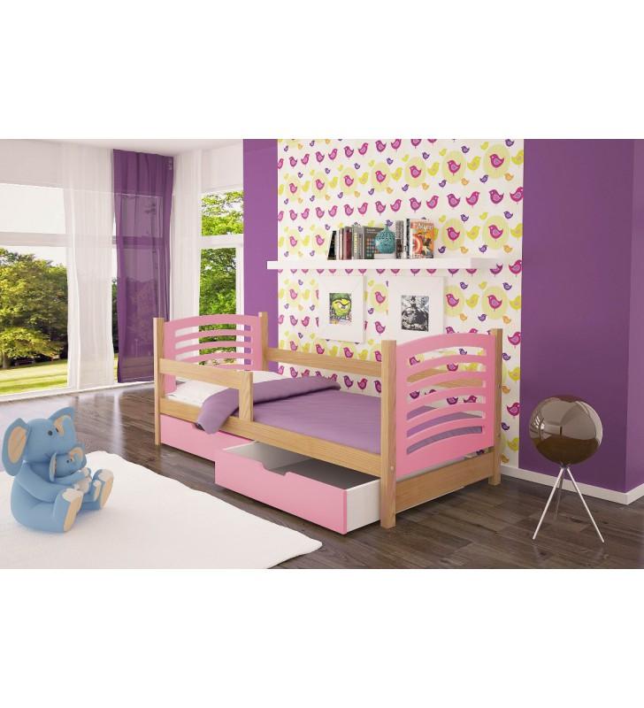 Łóżko pojedyncze, różowe z szufladami KMLk10rB