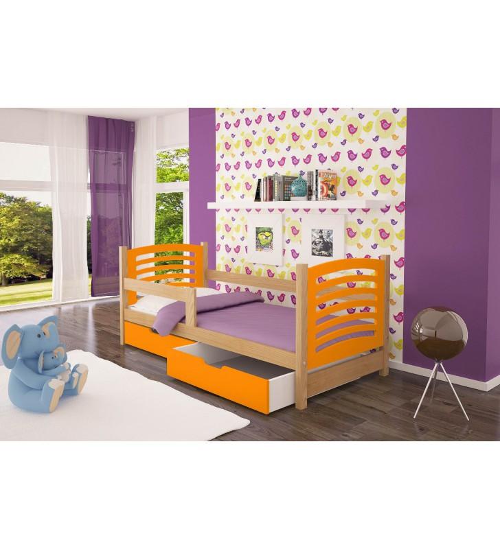 Łóżko pojedyncze, pomarańczowe z szufladami KMLk10pB